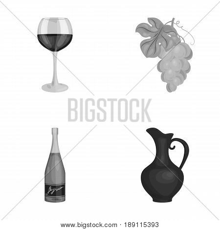 A glass of red wine, champagne, a jug of wine, a bunch. Wine production set collection icons in monochrome style vector symbol stock illustration .