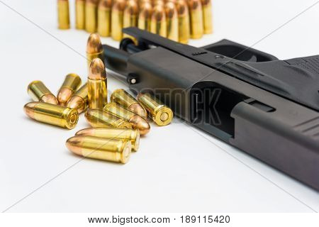 Semi Automatic Pistol And Fmj Bullet 9 Mm