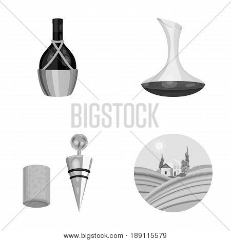 A bottle of wine in a basket, a gafine, a corkscrew with a cork, a grape valley. Wine production set collection icons in monochrome style vector symbol stock illustration .