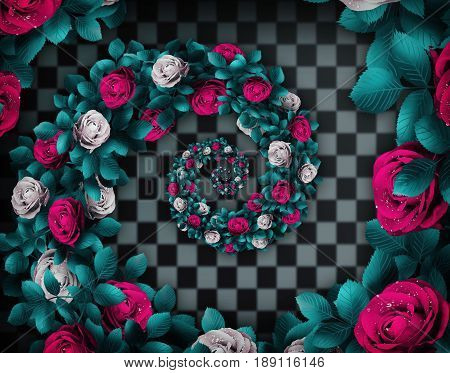 Alice in wonderland. Red  roses and white roses on  wonderland chess background. The Droste Effect 3D illustration