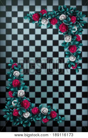 Red roses and white roses on  chess background. Wonderland background. Rose flower frame. 3D illustration