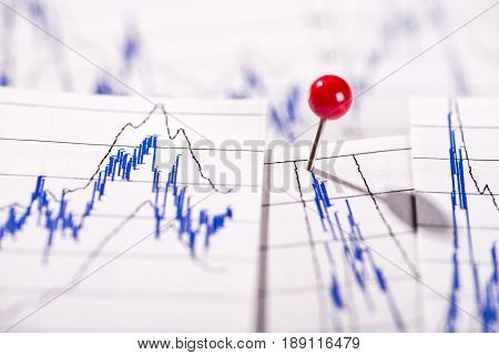 Diagrams show stock prices one is marked with a pin.