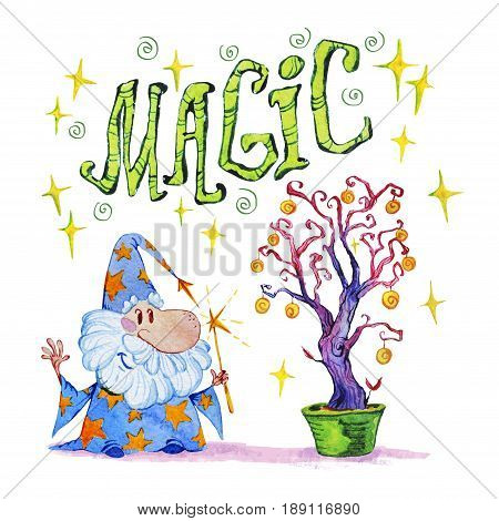Artistic watercolor hand drawn magic illustration with stars wizard and magic tree isolated on white background. Hand written font lettering. Fairy tale magician. Children illustration.