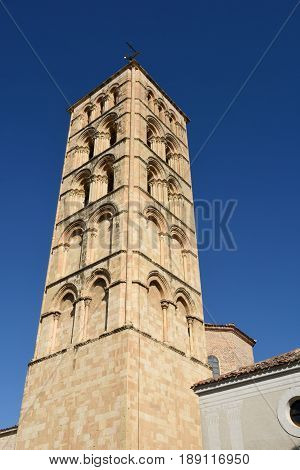 Bell tower of St. Stephen's church (12th century) Segovia. Castilla-Leon Spain