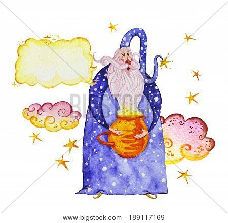 Artistic watercolor hand drawn magic illustration with stars wizard with magic pot and clouds isolated on white background. Fairy tale magician. Children illustration.