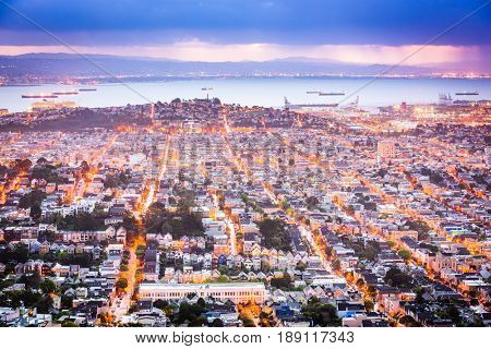 San Francisco, California, USA Noe Valley skyline.