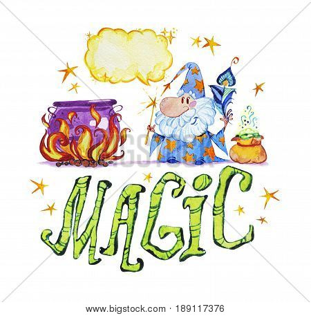 Artistic watercolor hand drawn magic illustration with stars wizard pot in fire, feather and magic powder in small bag isolated on white background. Fairy tale magician. Children illustration.