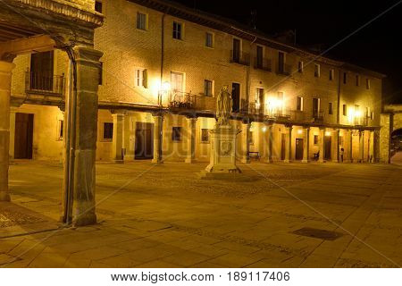 Night at the square El Burgo de Osma Soria province Castilla-Leon Spain