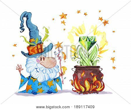 Artistic watercolor hand drawn magic illustration with stars wizard in big hat pot on fire magic diamond isolated on white background. Fairy tale magician. Children illustration.