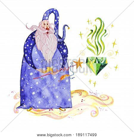 Artistic watercolor hand drawn magic illustration with stars wizard with magic wand conjuring magic diamond isolated on white background. Fairy tale magician. Children illustration.