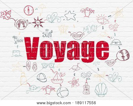 Vacation concept: Painted red text Voyage on White Brick wall background with Scheme Of Hand Drawn Vacation Icons