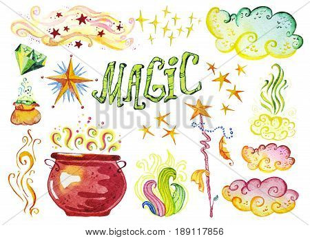Watercolor artistic collection of magic hand drawn elements design isolated on white background. Magic pot diamond wand lettering and stars set. Good for fairy tale children illustration.