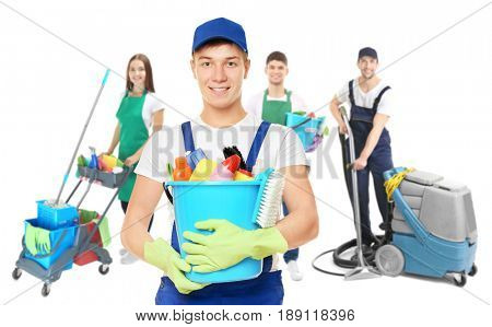 Janitor and professional team of cleaning service on white background