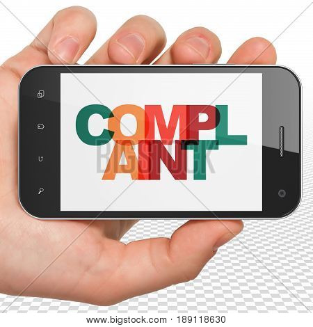 Law concept: Hand Holding Smartphone with Painted multicolor text Complaint on display, 3D rendering