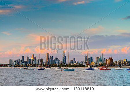 Melbourne city skyline viewed from St. Kilda beach Victoria Australia