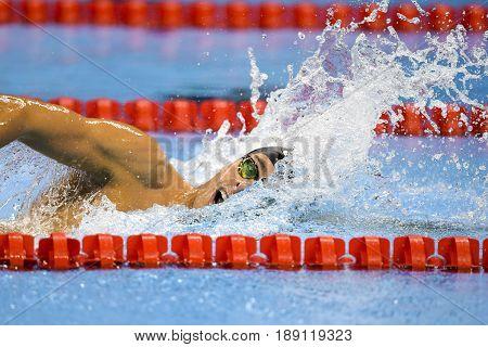 Rio de Janeiro Brazil - august 13 2016: WILIMOVSKY Jordan (USA) during men's 1500 metre swimming freestyle of the Rio 2016 Olympics Games Rio 2016