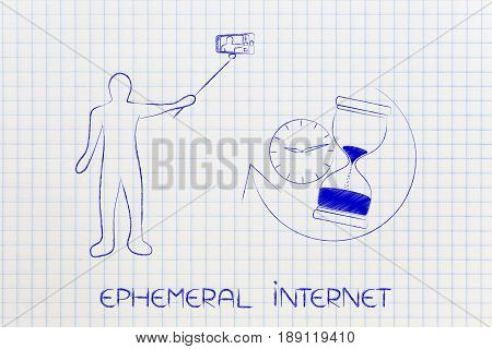 Person Taking A Selfie Next To Clock & Hourglass, Ephemeral Internet