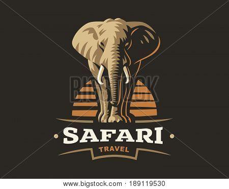 African safari elephant logo - vector illustration, emblem design on dark background