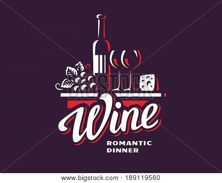Wine and grapes logo - vector illustration, emblem design