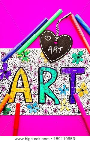 Art Jigsaw - hand drawn in colored pen on jigsaw puzzle with heart shape chalkboard