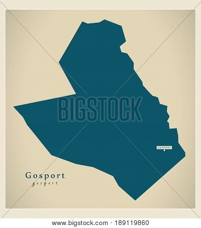 Modern Map - Gosport district UK illustration
