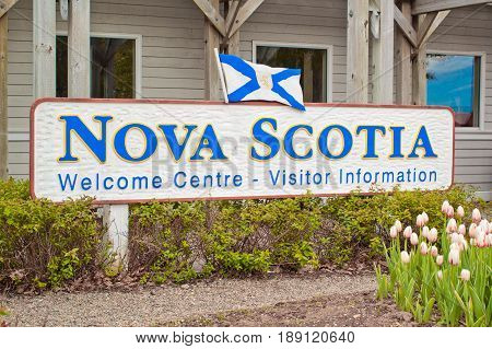 AMHERST CANADA - MAY 31 2017: Nova Scotia welcome sign. Nova Scotia is a maritime province of Canada with a population of approximately 922000. Halifax is the capital of Nova Scotia.