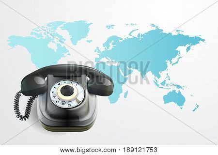 Contact Us Concept : Old black phone. (3D Illustration)