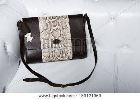 Women purse over shoulder on white background