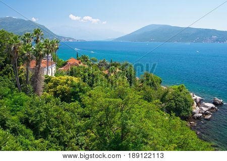 View of coast in town Herceg Novi Montenegro