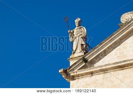 Statue on St. Nikola church in town Prcanj Kotor Bay Montenegro