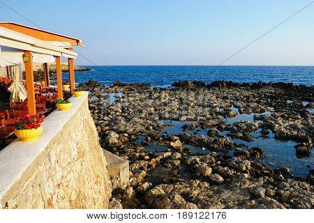 Tavern near sea at morning Crete Greece