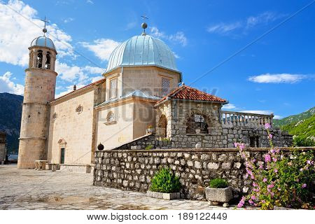 Church of Our Lady of the Rocks on island near Perast Kotor Bay Montenegro