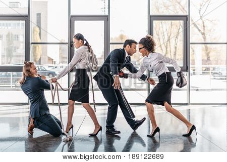 Young Multicultural Business Team Fight And Quarreling In Office