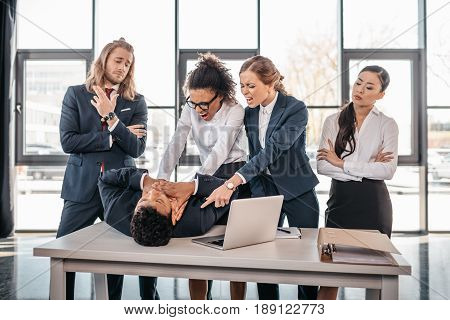 Multicultural Business Team Quarreling In Office, Business Team Working Concept