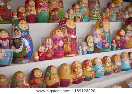 MOSCOW, MAY 26, 2017: Familyset Russian dolls matreshka at souvenir market shop. Traditional classic Russian handicraft hand made art background. Famous classical modern russian dolls matreshka toys