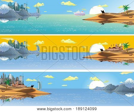 A set of panoramic landscapes of Asia. Panorama of nature. The ocean. The metropolis on the shore. The sandy desert. Mountains sea trees and hills. Vector illustration