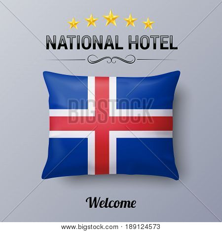 Realistic Pillow and Flag of Iceland as Symbol National Hotel. Flag Pillow Cover with Icelandic flag