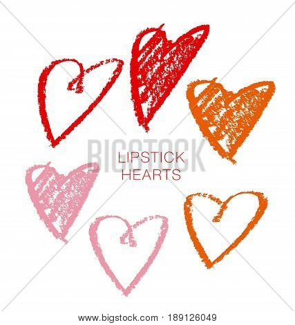 hand drawn by lipstick  vector illustration of heart symbol. simple icon set for print and web
