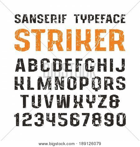 Sanserif font in sport style. Letters with shabby texture. Print on white background
