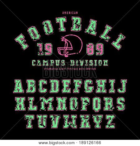 Serif font with contour. Letters with shabby texture. Graphic design for t-shirt titles and logos. Color print on black background