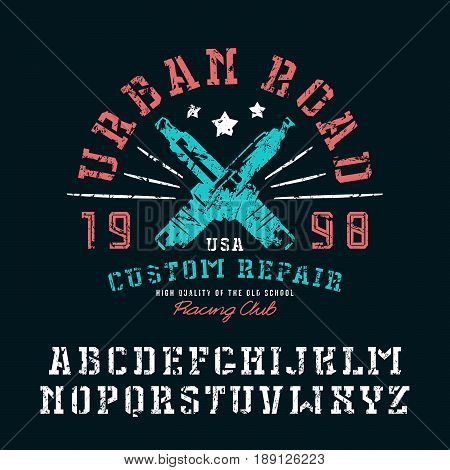 Stencil-plate serif font and graphic design for t-shirt. Letters with shabby texture. Color print on black background