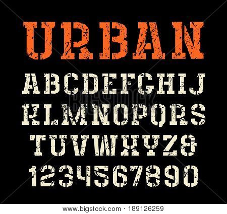 Stencil-plate serif font in urban style. Letters with shabby texture. Print on black background