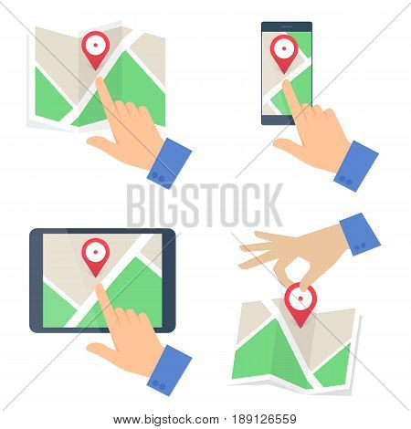 Businessman's hand searchig for location on paper, mobile phone and digital tablet phone maps. Plan with red pin marker. Business trip, tourism, travel flat concept illustration. Vector design element