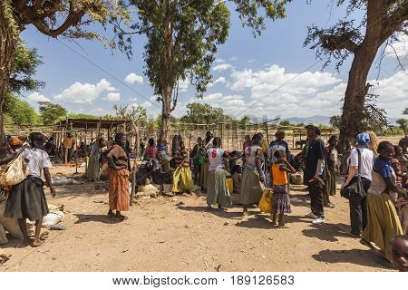 People From Konso Tribal Area At Local Village Market. Omo Valley. Ethiopia