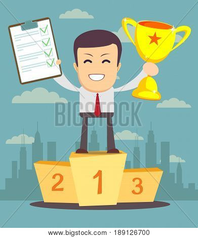 The winner, Cartoon human character holding a clipboard with green tick and winners trophy award . social media marketing concept. vector illustration in flat design on city background