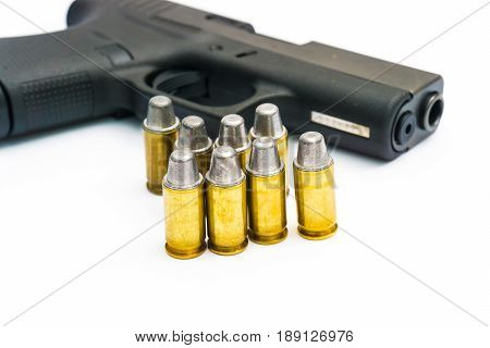 .45 Pistol with full lead jacket 11mm gun isolated on white background