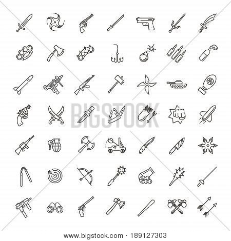 Weapons vector icons set, cold steel arms poster