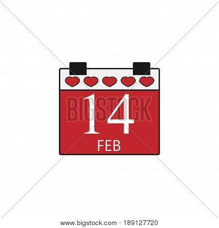 Valentine's calendar solid  icon, 14 February valentine's day , vector graphics, a colorful linear pattern on a white background, eps 10.