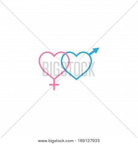 Heterosexual like hearts solid icon, male and female, gender, vector graphics, a colorful linear pattern on a white background, eps 10.