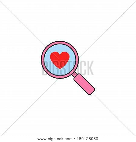 Magnifier with heart solid icon, Love searching, Valentine's day, love concept, vector graphics, a colorful linear pattern on a white background, eps 10.